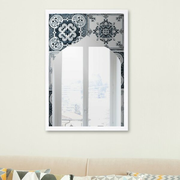 Justin Mediterranean Tile Accent Wall Mirror by Bungalow Rose