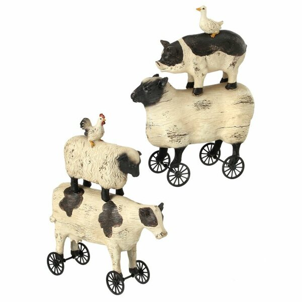 Herkimer Farm Animal Stack on Wheel 2 Piece Figurine Set (Set of 2) by August Grove