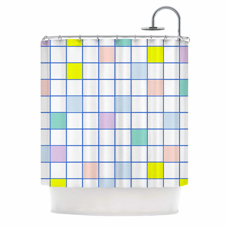 East Urban Home Pastel Windowpane Grid Shower Curtain
