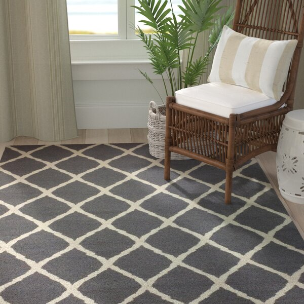 Abbott Grey & Ivory Diamond Area Rug by Longshore Tides