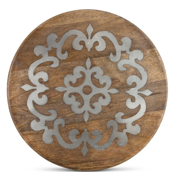 Heritage Wood Metal Inlay Lazy Susan by The GG Collection