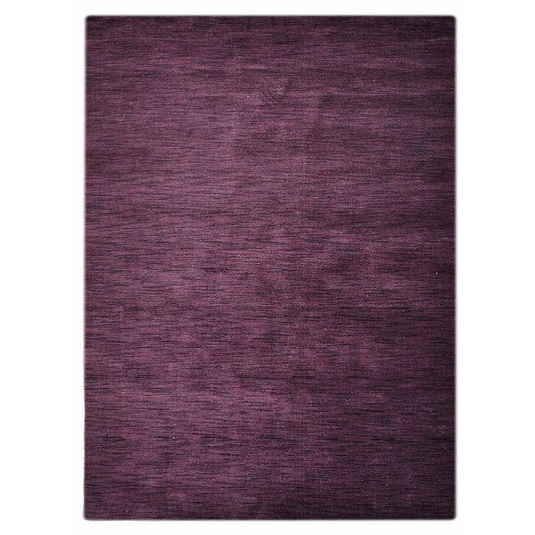 Delano Solid Hand-Woven Wool Purple Area Rug by Latitude Run