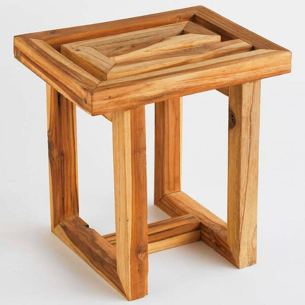 Pickett Scrap Teak Accent Stool by Union Rustic