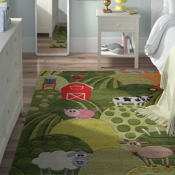 Johnnie Hand-Tufted Grass Green Area Rug by Viv + Rae