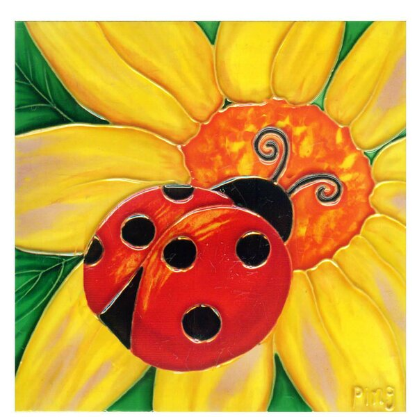 Lady Bug on Daisy Tile Wall Decor by Continental Art Center
