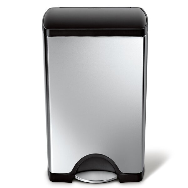 10 Gallon Rectangular Step Trash Can with Plastic Lid, Brushed Stainless Steel by simplehuman
