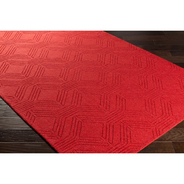 Belle Hand-Loomed Red Area Rug by Wrought Studio