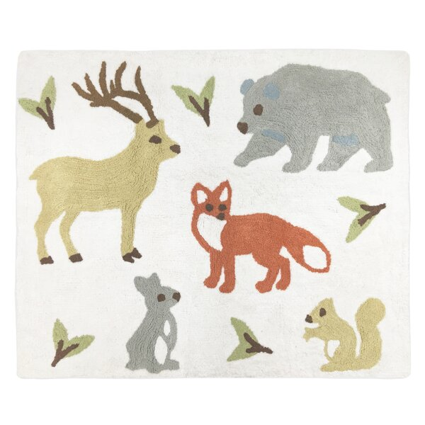 Woodland Toile Hand Tufted Cotton White/Gray Area Rug by Sweet Jojo Designs