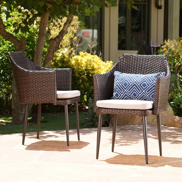 Hiro Patio Dining Chair with Cushion (Set of 2) by George Oliver