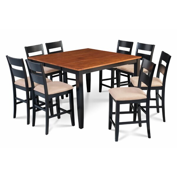 Bennet 9 Piece Counter Height Extendable Solid Wood Dining Set by Alcott Hill Alcott Hill