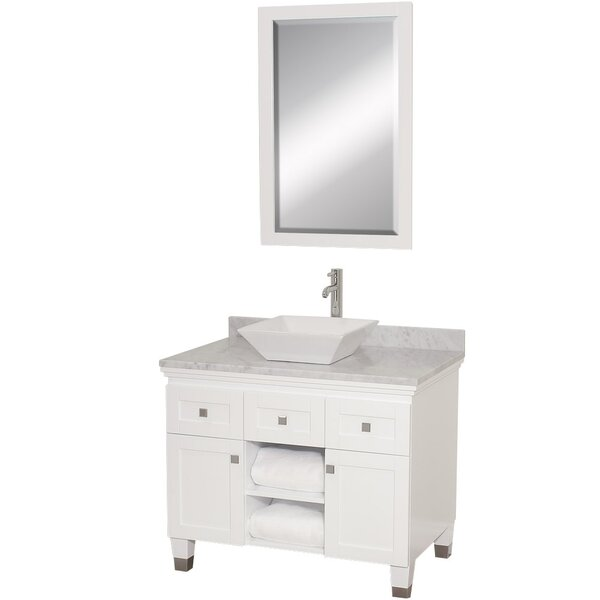 Premiere 36 Single White Bathroom Vanity Set with Mirror by Wyndham CollectionPremiere 36 Single White Bathroom Vanity Set with Mirror by Wyndham Collection