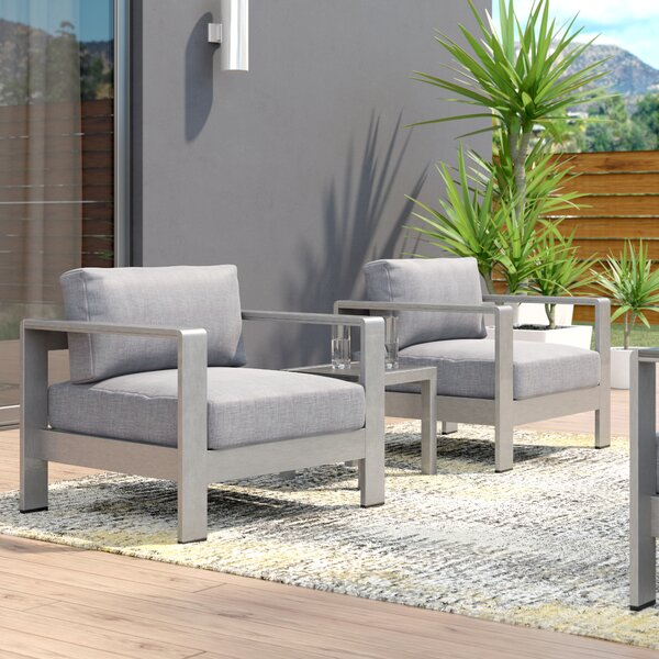 Coline Contemporary 3 Piece Bistro Set with Cushions by Orren Ellis