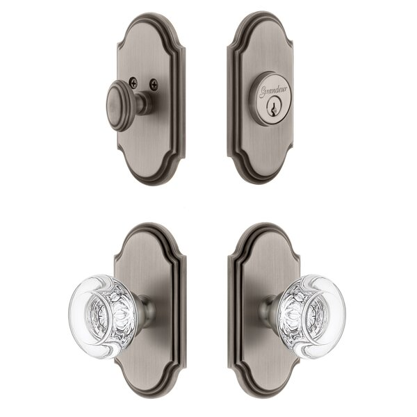 Arc Single Cylinder Knob Combo Pack with Bordeaux Knob by Grandeur