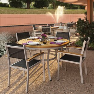 Farmington 5 Piece Dining Set with Black Sling Back Chairs By Latitude Run