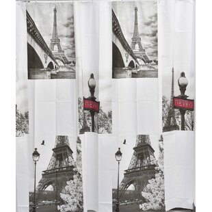 Paris City Bath Printed Peva Liner Shower Curtain