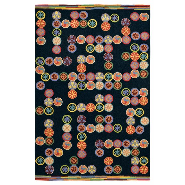 Abacus Hand-Hooked Wool Black/Red Area Rug by CompanyC