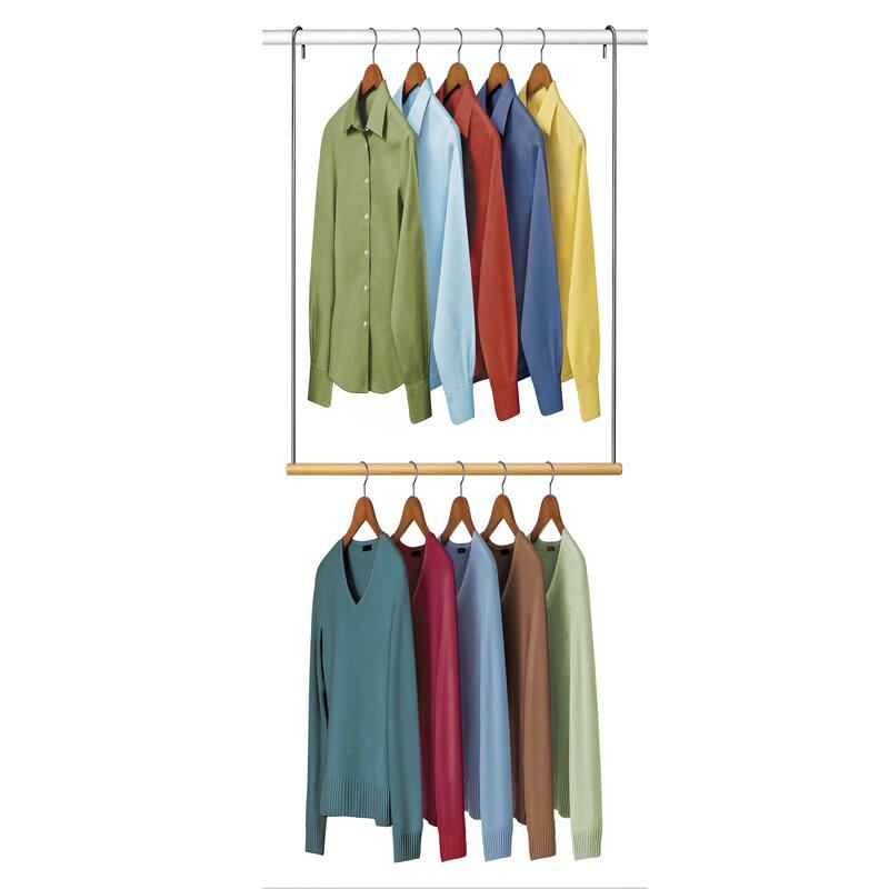 double hang closet rod hanging organizer reviews allmodern. Black Bedroom Furniture Sets. Home Design Ideas