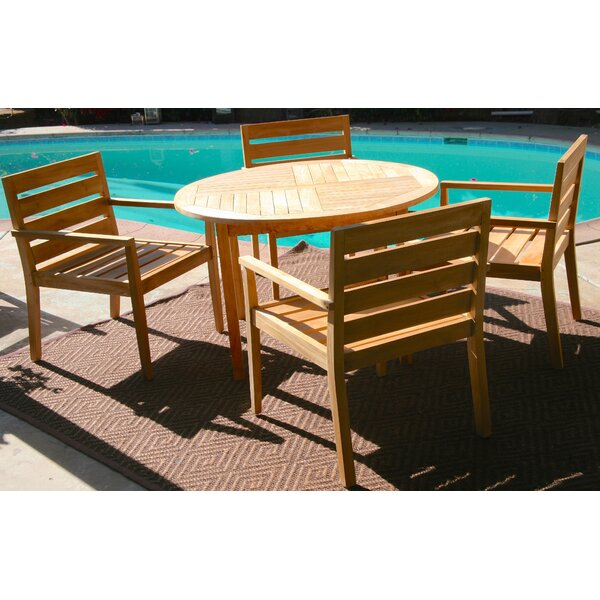 Borneo 5 Piece Teak Dining Set with Sunbrella Cushions by Trijaya Living