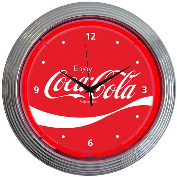 Drinks 15 Coca Cola Wave Wall Clock by Neonetics