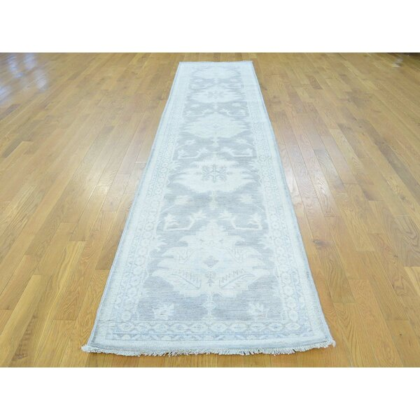 One-of-a-Kind Bearer Washed Out Hand-Knotted Grey Wool Area Rug by Isabelline