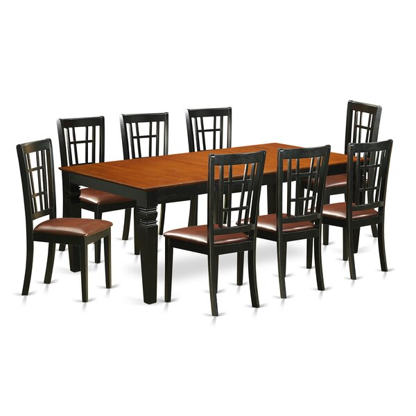 Beesley 9 Piece Black/Cherry Wood Dining Set by Darby Home Co