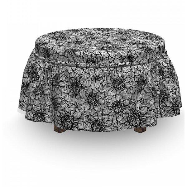 Dahlia Botany 2 Piece Box Cushion Ottoman Slipcover Set By East Urban Home