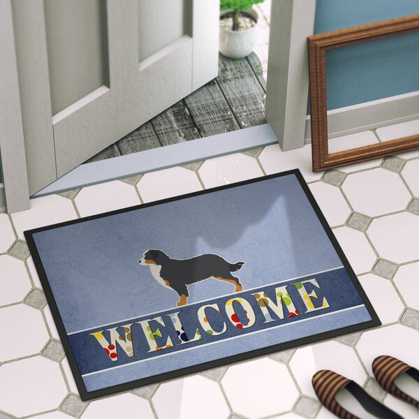 Bernese Mountain Dog Welcome 27 in. x 18 in. Non-Slip Outdoor Door Mat