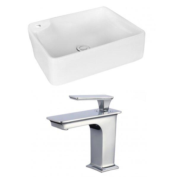 Ceramic Rectangular Vessel Bathroom Sink with Faucet by Royal Purple Bath Kitchen