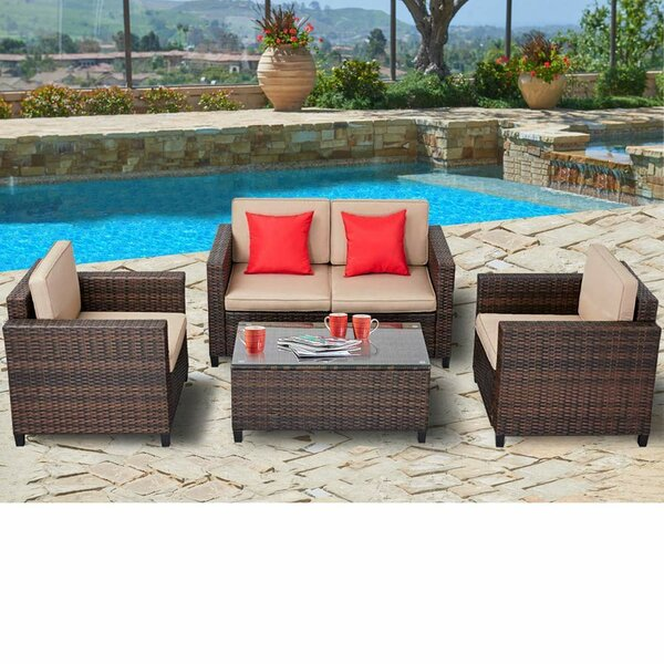 Yuliana Outdoor Wicker Conversation 4-Piece Deep Sofa Seating Group with Cushions by Longshore Tides