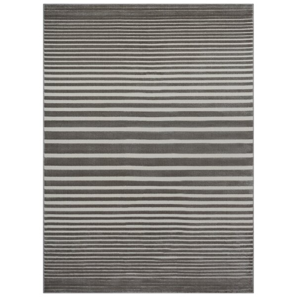 Saxon Multiple Stripes Gray Area Rug by Highland Dunes