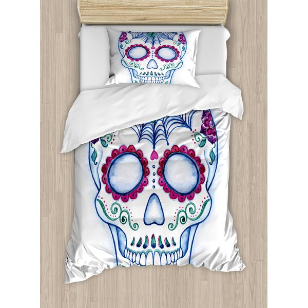 Day of The Dead with Floral Ornament Hand Drawn Doodle Duvet Set by East Urban Home