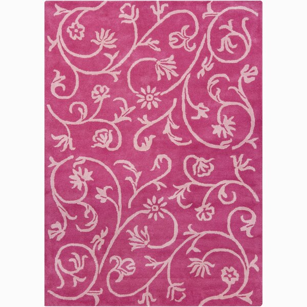 Constance Pink Swirl Floral Area Rug by Viv + Rae