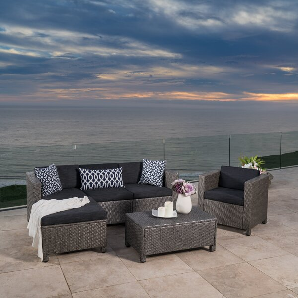Furst 6 Piece Rattan Sectional Seating Group with Cushions by Wade Logan Wade Logan