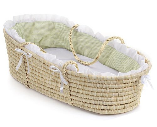 Kaelyn Moses Basket With Gingham Bedding By Viv Rae.