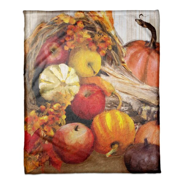 Fall Cornucopia Coral Fleece Throw by The Holiday Aisle