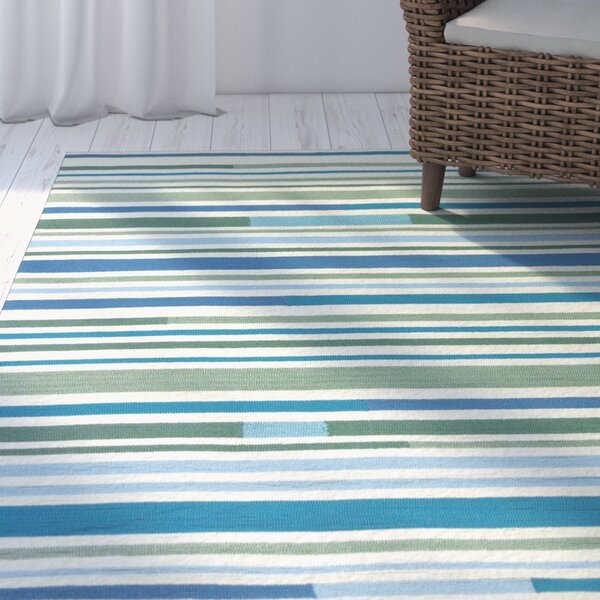 Coeymans Sea Breeze Stripes Indoor/Outdoor Area Rug by Highland Dunes