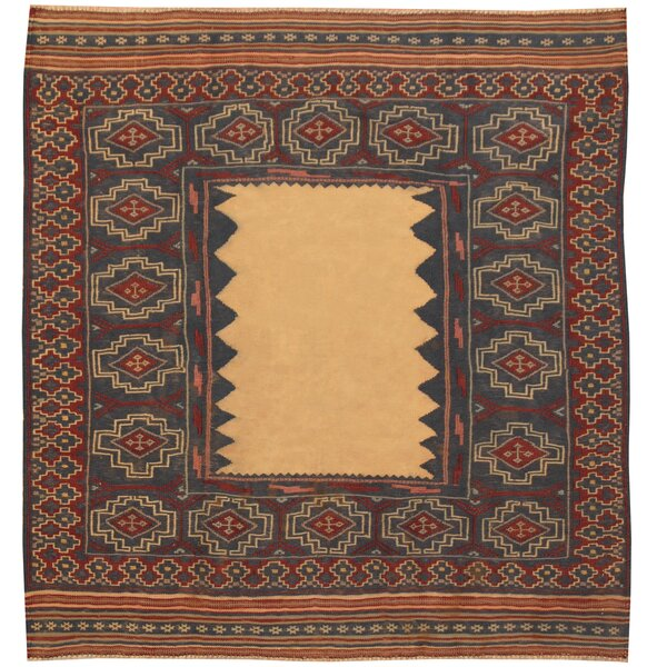 One-of-a-Kind Prentice Hand-Knotted Wool Beige/Blue Area Rug by Isabelline