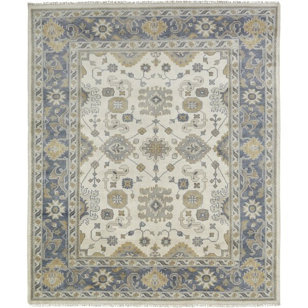 Maureen Hand Knotted Wool Ivory/Blue Area Rug by Darby Home Co