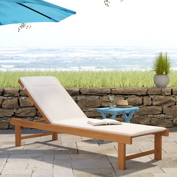 Elsmere Reclining Teak Chaise Lounge with Cushion by Beachcrest Home Beachcrest Home