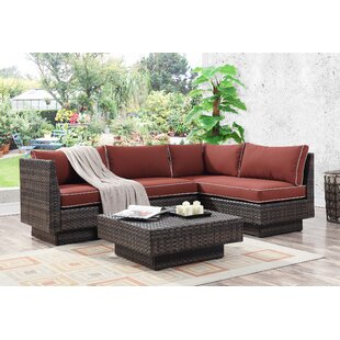 Mulford Outdoor 3 Piece Rattan Sectional Set with Cushions By Bloomsbury Market