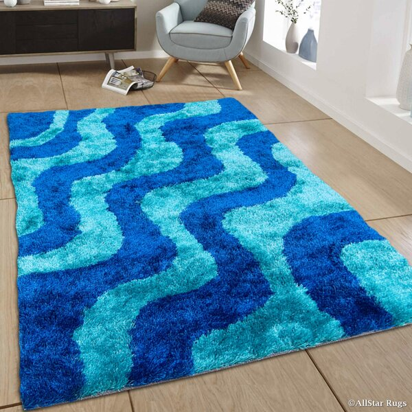 Hand-Tufted Blue/Sky Blue Area Rug by AllStar Rugs