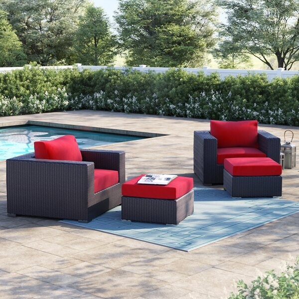Brentwood 4 Piece Rattan Conversation Set with Cushions by Sol 72 Outdoor