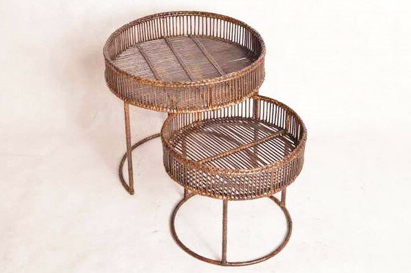 Youssoufia Rattan 2 Piece Nesting Tables by Bloomsbury Market