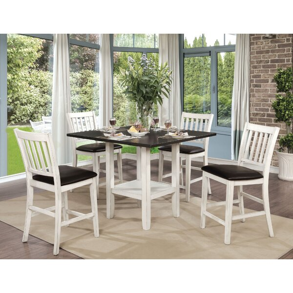 Jadyn 5 Piece Counter Height Drop Leaf Dining Set by Longshore Tides Longshore Tides