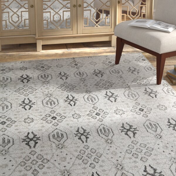 Zoey Hand-Knotted Gray Area Rug by Bungalow Rose