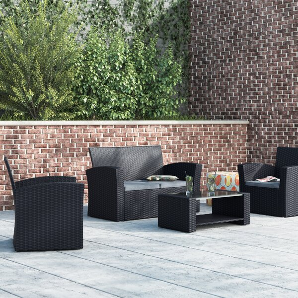 Edward 4 Piece Sofa Seating Group with Cushions by Ebern Designs