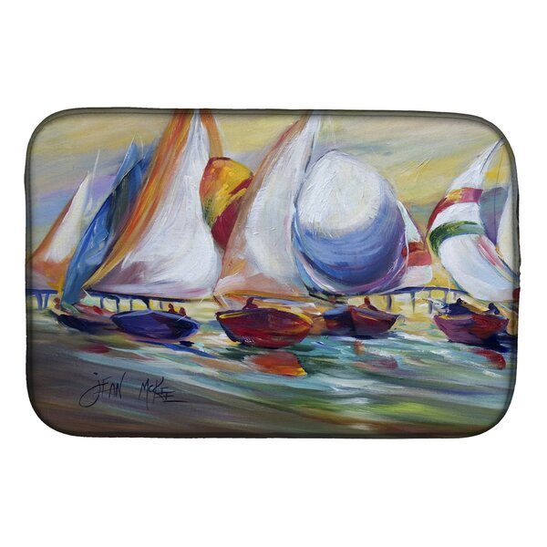 Sailboat Race in Dauphin Island Dish Drying Mat by Caroline's Treasures