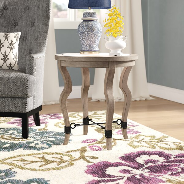 Rhys Travertine End Table by Gracie Oaks Gracie Oaks