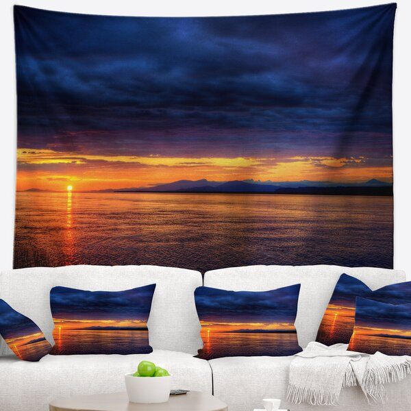 Seashore Blue Cloudy Sky and Setting Sun Tapestry and Wall Hanging by East Urban Home