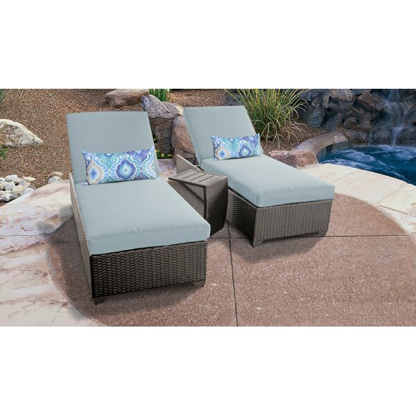 Barbados Chaise Lounge Set with Cushions and Table by TK Classics
